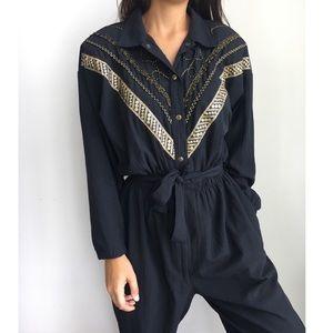 Vintage 80's black gold embroidered jumpsuit M/L
